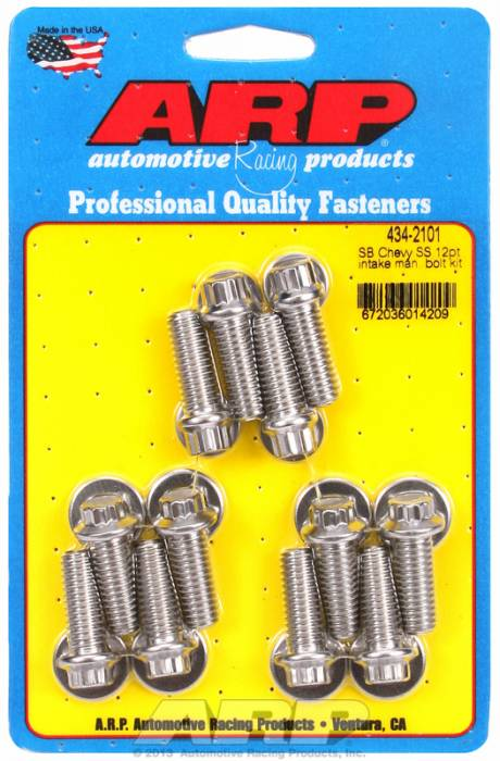 ARP - ARP4342101 - ARP Intake Manifold Bolt Kit- Chevy Small Block-265-400-Stainless Steel- 12 Point Head