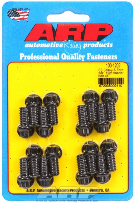 "ARP - ARP1001202 - ARP Header Bolt Kit- Chevy Big Block & Ford V8 - 3/8""X .750""- Black Oxide- 12 Point Nuts-Qty.-16"