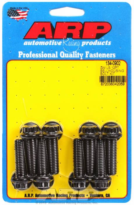 "ARP - ARP1340902 - ARP Bellhousing to Engine Block Bolt Kit, Chevy Gen III/LS Small Block, Black Oxide, 12 Point Head, 1.375"" UHL, M10 x 1.5 Thread"