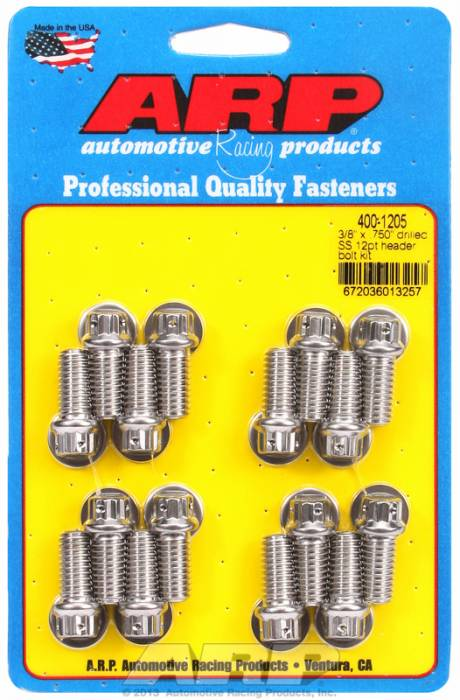 "ARP - ARP4001205 - ARP Header Bolt Kit- Universal Application - 3/8""X 1.000""- Stainless Steel- 12 Point Nuts-Qty.-16- Drilled For Safety Wire"