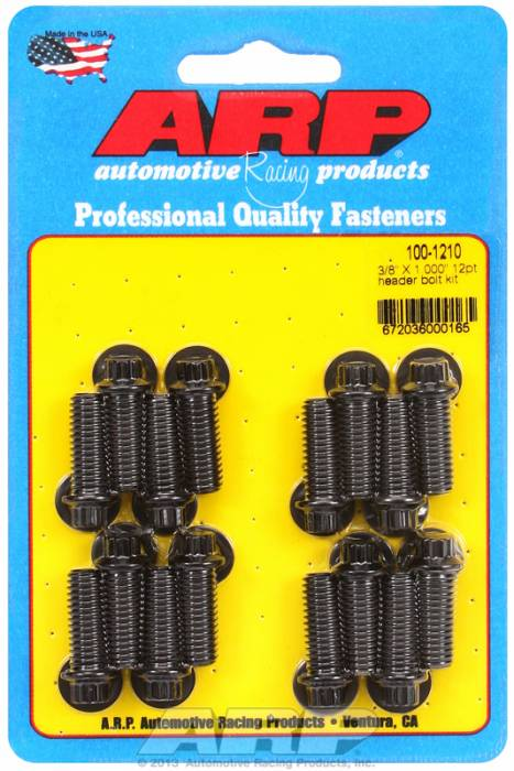"ARP - ARP1001210 - ARP Header Bolt Kit- Universal Application - 3/8""X 1.000""- Black Oxide- 12 Point Nuts-Qty.-12"