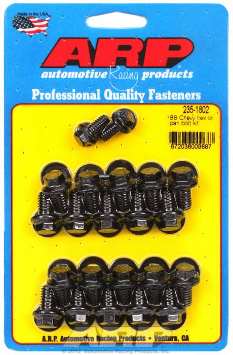 ARP - ARP2351802 - ARP Oil Pan Bolt Kit- Big Block Chevy- Black Oxide- 6 Point