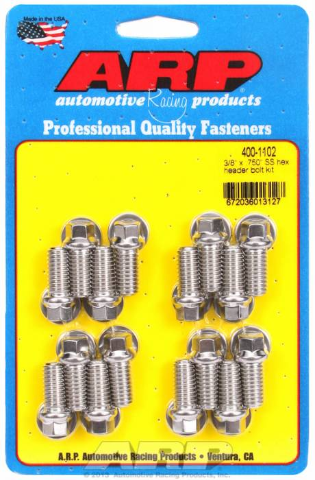 "ARP - ARP4001102 -ARP Header Bolt Kit- Chevy Big Block & Ford V8 - 3/8""X .750""- Stainless Steel- 6 Point Nuts-Qty.-16"