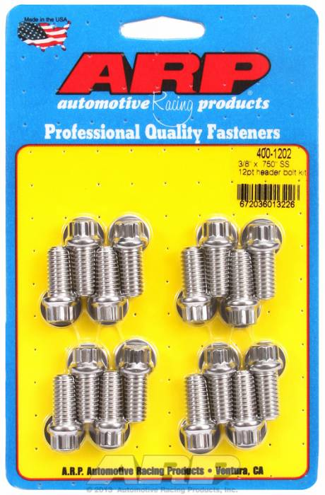 "ARP - ARP4001202 - ARP Header Bolt Kit- Chevy Big Block & Ford V8- 3/8""X .750""- Stainless Steel- 12 Point Nuts-Qty.-16"