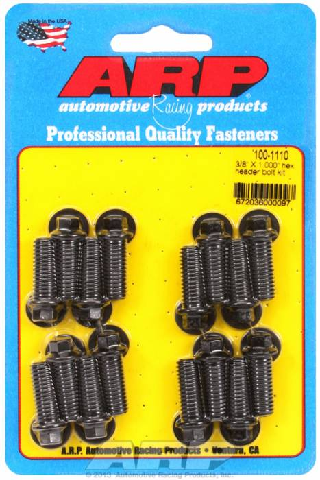 "ARP - ARP1001110 - ARP Header Bolt Kit- Universal Application - 3/8""X 1.000""- Black Oxide- 6 Point Nuts-Qty.-12"