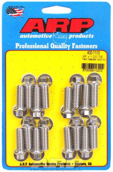 "ARP - ARP4001110 - ARP Header Bolt Kit- Universal Application - 3/8""X 1.000""- Stainless Steel- 6 Point Nuts-Qty.-12"