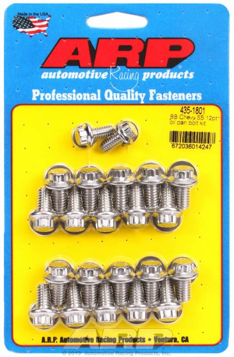 ARP - ARP4351801 - ARP Oil Pan Bolt Kit- Big Block Chevy- Stainless Steel- 12 Point