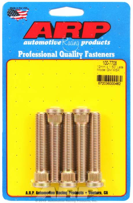 "ARP - ARP1007708 - ARP Heavy Duty Wheel Stud Kit- Late Gm : Camaro, Firebird, Corvette- .509"" Knurl Diameter, 2.50"" Long, .315"" Knurl Length- Set Of 5"