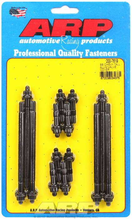 """ARP - ARP2007619 - ARP Valve Cover Stud  Kit - For Cast Aluminum Covers Bb Chevy- 1/4""""-20 X 1.50""""& 1/4""""-20X 4.50 - Black Oxide - 12 Point Head-Qty.-14"""