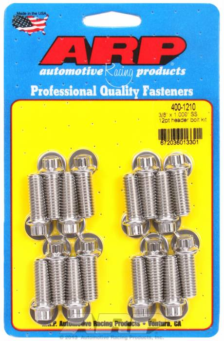 """ARP - ARP4001210 - ARP Header Bolt Kit- Universal Application - 3/8""""X 1.000""""- Stainless Steel- 12 Point Nuts-Qty.-12"""