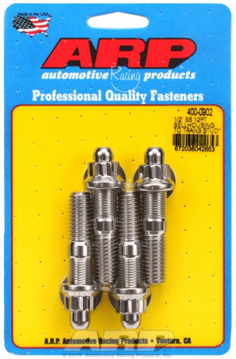 ARP - ARP4000902 - ARP Bellhousing Stud Kit, Bellhousing to Manual Transmission, Universal, 1/2-13, Stainless Steel, 12 Point Head, 2.750 OAL