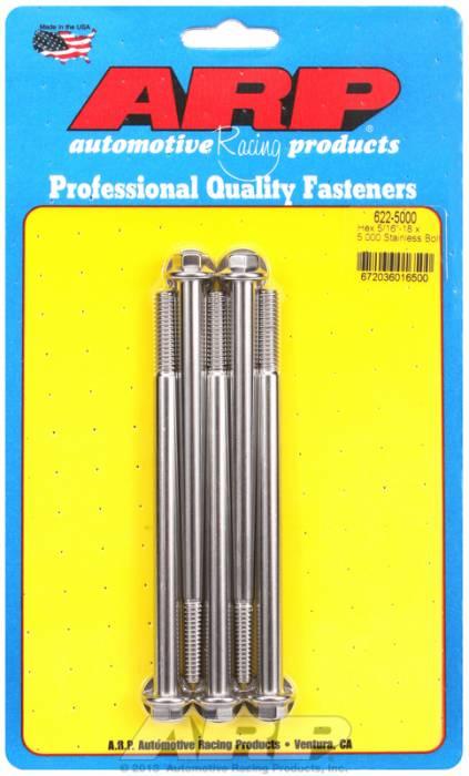 """ARP - ARP6225000 - ARP SAE Bolt Kit, 5/16-18, 5.000 UHL, 1.000 Thread Length, 4.000 Grip Length, 3/8"""" Wrenching, Stainless Steel, Hex Head, 5 Pack"""