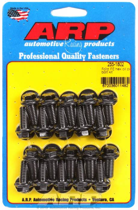 "ARP - ARP2551802 - ARP Oil Pan Bolt Kit- Ford -352-390-428- ""FE"" Big Block- Black Oxide- 6 Point"