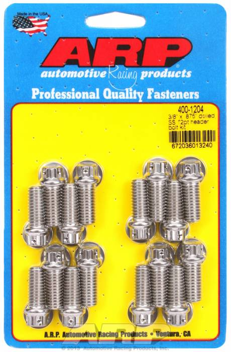 """ARP - ARP4001204 - ARP Header Bolt Kit- Chevy Big Block - 3/8""""X .875""""- Stainless Steel- 12 Point Nuts-Qty.-16"""