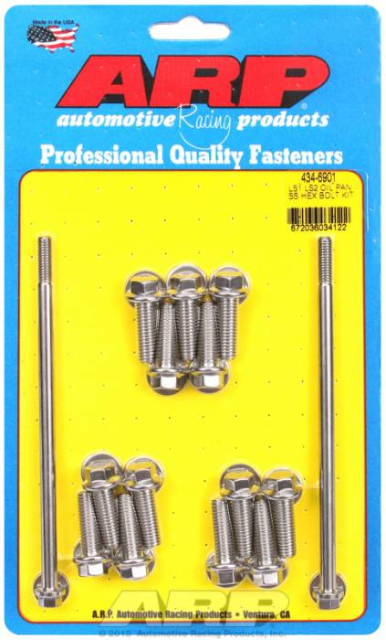 ARP - ARP4346901 - ARP Gen III / LS Series SBC Oil Pan Bolt Kit - Stainless Steel - Hex
