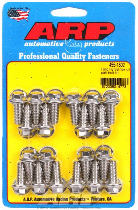 "ARP - ARP4551802 - ARP Oil Pan Bolt Kit- Ford -352-390-428- ""FE"" Big Block- Stainless Steel- 6 Point"