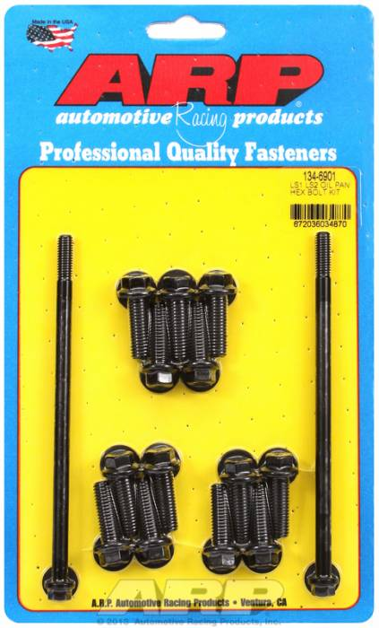 ARP - ARP1346901 -ARP Oil Pan Bolts, Chevy Gen III/LS Series - Black Oxide, Hex Head