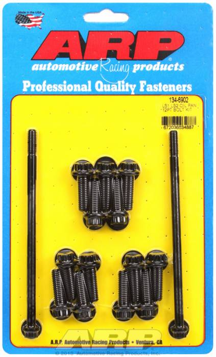ARP - ARP1346902 - ARP Gen III / LS SBC Oil Pan Bolt Kit - Black Oxide - 12-point