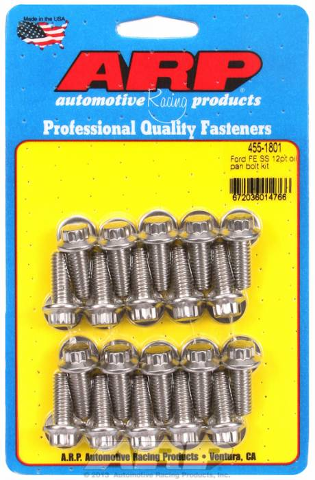 "ARP - ARP4551801 -ARP Oil Pan Bolt Kit- Ford -352-390-428- ""FE"" Big Block- Stainless Steel- 12 Point"