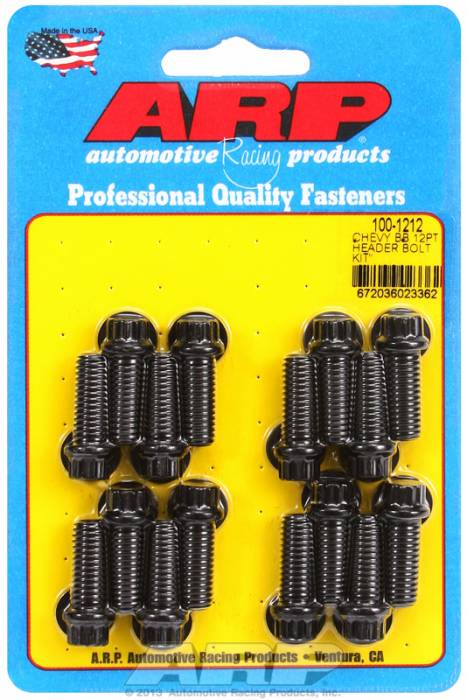 "ARP - ARP1001212 - ARP Header Bolt Kit- Chevy Big Block - 3/8""X 1.000""- Black Oxide- 12 Point Nuts-Qty.-16"