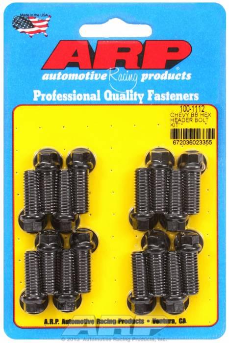 "ARP - ARP1001112 - ARP Header Bolt Kit- Chevy Big Block - 3/8""X 1.000""- Black Oxide- 6 Point Nuts-Qty.-16"
