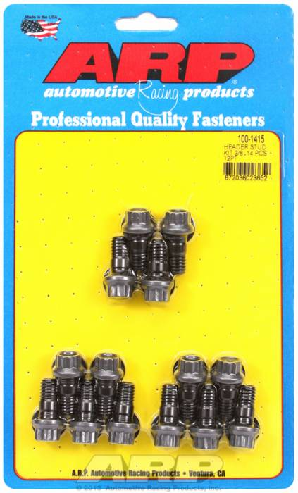 """ARP - ARP1001415 -ARP Header Stud Kit- Universal Application - Broached With 12 Point Locking Nut  3/8""""  X 1.125""""- Black Oxide- 12 Point Nuts-Qty.-14"""