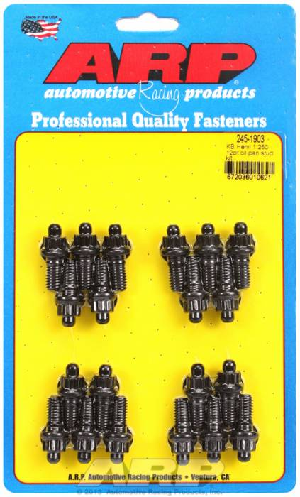 "ARP - ARP2451903 - ARP Oil Pan Stud Kit- Keith Black Hemi- 1.30""- Black Oxide- 12 Point"