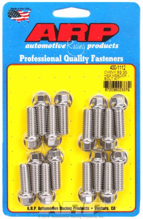 "ARP - ARP4001112 - ARP Header Bolt Kit- Chevy Big Block - 3/8""X 1.000""- Stainless Steel- 6 Point Nuts-Qty.-16"