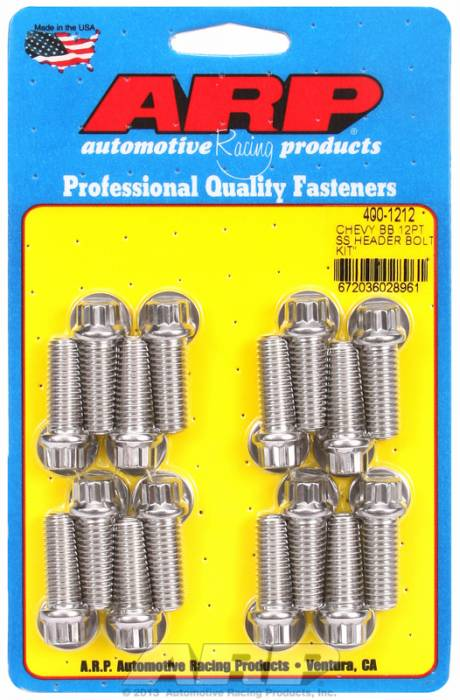 "ARP - ARP4001212 - ARP Header Bolt Kit- Chevy Big Block - 3/8""X 1.000""- Stainless Steel- 12 Point Nuts-Qty.-16"