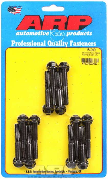 ARP - ARP1542001 - ARP Intake Manifold Bolt Kit- Ford -260-289-302-351W- Black Oxide- 6 Point Head