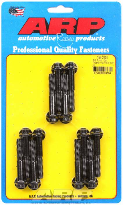 ARP - ARP1542101 - ARP Intake Manifold Bolt Kit- Ford -260-289-302-351W- Black Oxide- 12 Point Head