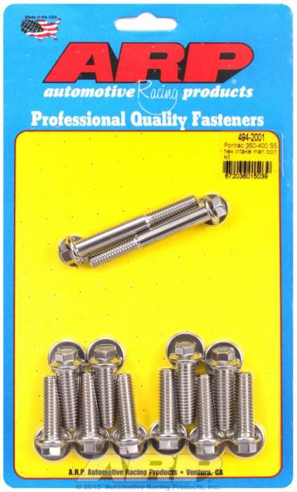 ARP - ARP4942001 - ARP Intake Manifold Bolt Kit- Pontiac 350-400- Stainless Steel- 6 Point Head