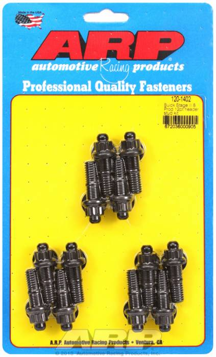 "ARP - ARP1201402 -ARP Header Stud Kit- Buick 3.8L V6 - 3/8""X1.670""- Black Oxide- 12 Point Nuts-Qty.-12"