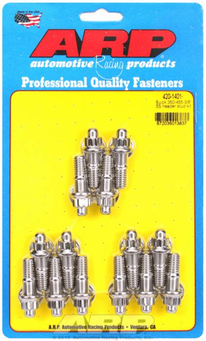 """ARP - ARP4201401 - ARP Header Stud Kit- Buick 350-455 - 3/8""""X1.670""""- Stainless Steel- 12 Point Nuts-Qty.-12-Qty.-14"""