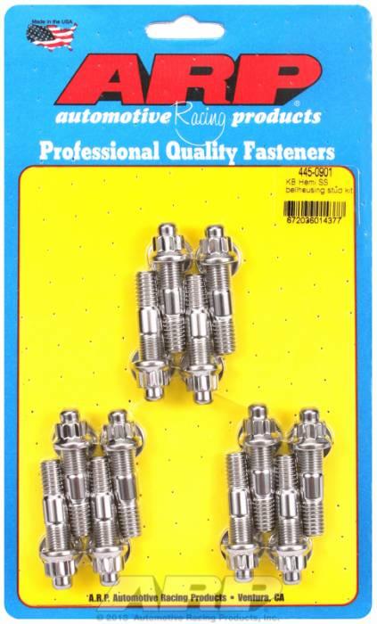 ARP - ARP4450901 - Bellhousing To Engine Block Bolt Kit, Chrysler/Dodge 383-400-413-426-440 Wedge, Stainless, Hex Head, Stud Oal 1.375, 3/8-16, Bolt Oal 2.000/2.250, 7/16-14