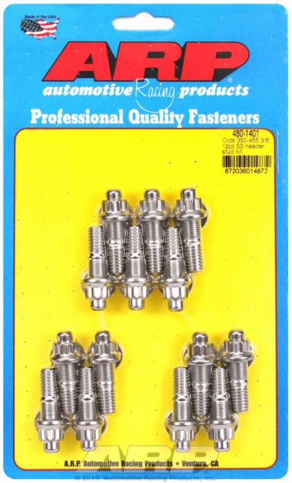 "ARP - ARP4801401 -ARP Header Stud Kit- Oldsmobile V8 - 3/8""X 1.670""- Stainless Steel- 12 Point Nuts-Qty.-14"