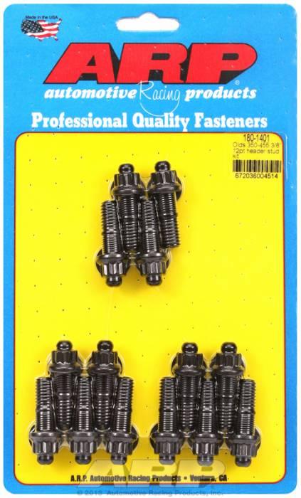 "ARP - ARP1801401 - ARP Header Stud Kit- Oldsmobile V8 - 3/8""X 1.670""- Black Oxide- 12 Point Nuts-Qty.-14"
