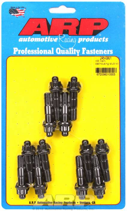 "ARP - ARP2450901 - ARP Bellhousing Stud Kit, Top Fuel -Bellhousing to Engine Block, Chevy/Chrysler KB Hemi, Black Oxide, Hex Head, 3/8"" Dia., 2.000"" Length"