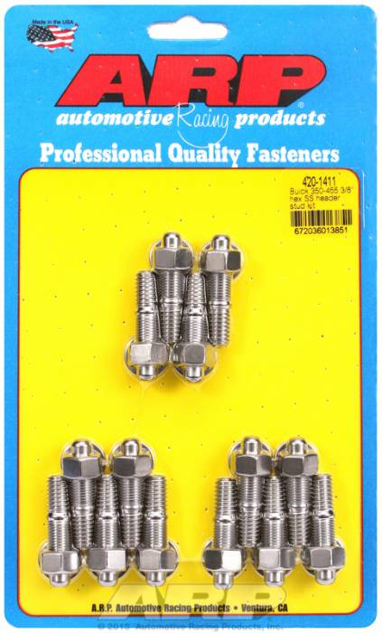 "ARP - ARP4201411 -  ARP Header Stud Kit- Buick 350-455 - 3/8""X1.670""- Stainless Steel- 6 Point Nuts-Qty.-14"