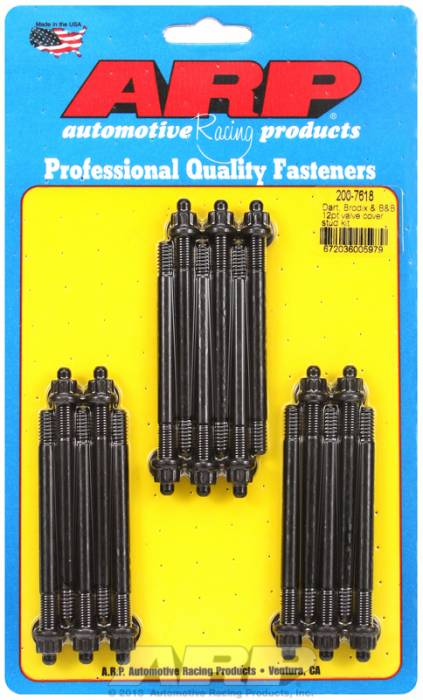 "ARP - ARP2007618 - ARP Valve Cover Stud  Kit - For Cast Aluminum Covers- 1/4""-20 X 3.50"" - Black Oxide - 12 Point Head-Qty.-16"
