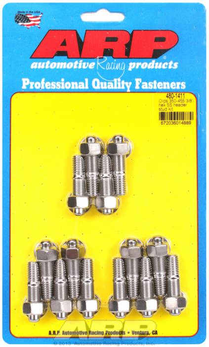 "ARP - ARP4801411 - ARP Header Stud Kit- Oldsmobile V8 - 3/8""X 1.670""- Stainless Steel- 6 Point Nuts-Qty.-14"