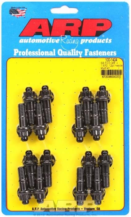 "ARP - ARP1001404 -ARP Header Stud Kit- Ford V8 - 3/8""X 1.670""- Black Oxide- 12 Point Nuts-Qty.-16"