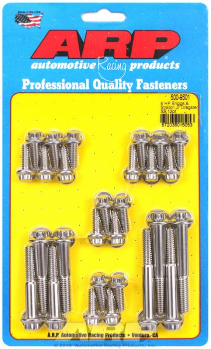 ARP - ARP5009501 - ARP Engine & Accessory Fastener Kit-Briggs & Stratton (Jr. Dragster)- Stainless- 12 Point Head