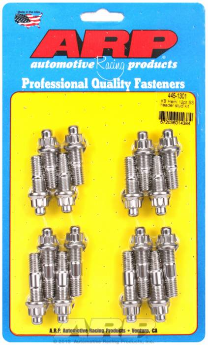 """ARP - ARP4451301 - ARP Header Stud Kit- Chrysler Kb Hemi- With Blower, & 340-360 - 3/8"""" X 1.670"""" & 2.00- Stainless Steel- 12 Point Nuts-Qty.-16"""