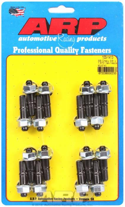 "ARP - ARP1001413 - ARP Header Stud Kit- Chevy Big Block - 3/8""X 1.670""- Black Oxide- 6 Point Nuts-Qty.-16"