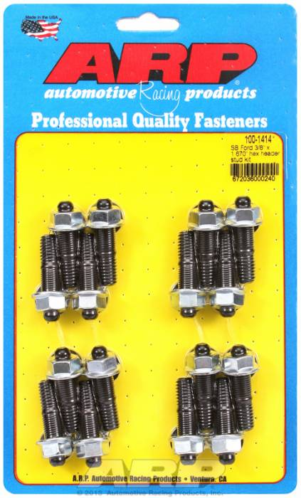 "ARP - ARP1001414 - ARP Header Stud Kit- Ford V8 - 3/8""X 1.670""- Black Oxide- 6 Point Nuts-Qty.-16"
