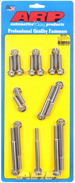 ARP - ARP4901501 - ARP Timing Cover & Water Pump  Bolt Kit- Pontiac V8- Stainless Steel- 12 Point Head