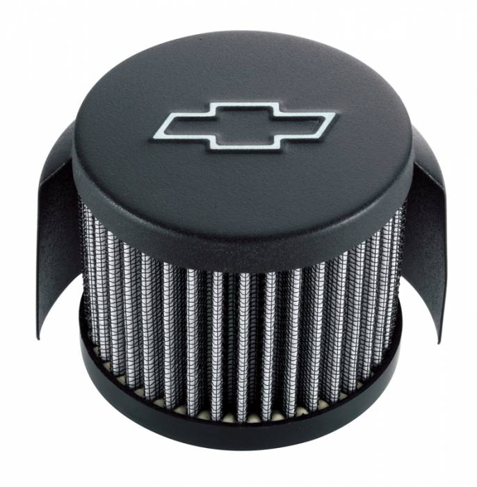 "Proform - 141613 - Chevy Bowtie Emblem Push-In Air Breather with Hood, Black Crinkle, 3"" Round"