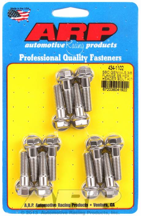 "ARP - ARP4341102 - LS Header Bolt Kit, Hex Head, Stainless Steel, M8 - 1.181"" OAL"