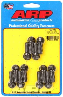 ARP - ARP1001116 - Chevrolet Small Block Header Bolt Kit, 0.875? UHL, 8740, Hex Head, Black Oxide, 12 per Pack
